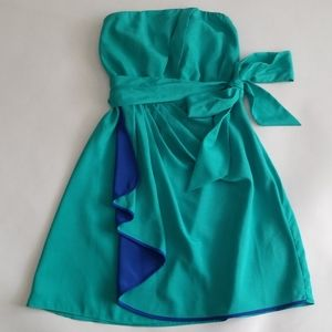 Express Strapless Turquoise Dress 4
